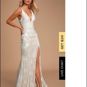Lulus Annabella Ivory Lace V-Neck Maxi Dress